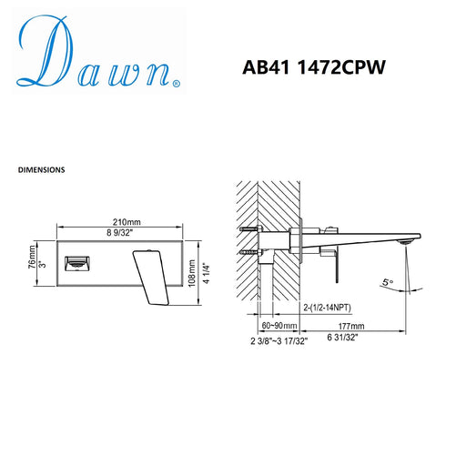Dawn Wall Mounted Single Lever Concealed Washbasin Mixer in Chrome and White-Bathroom Faucets-DirectSinks