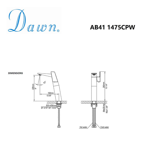 Dawn Single Lever Vessel Lavatory Faucet in Chrome and White-Bathroom Faucets Fast Shipping at DirectSinks.