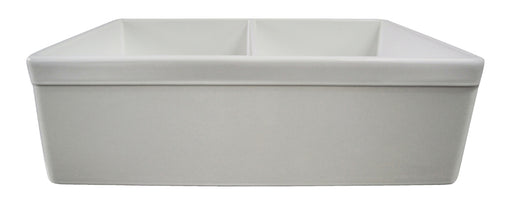 "ALFI brand AB539 32"" Decorative Lip Apron Double Bowl Fireclay Farmhouse Kitchen Sink-DirectSinks"