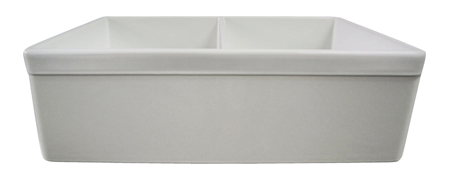 "ALFI brand AB539 32"" Decorative Lip Apron Double Bowl Fireclay Farmhouse Kitchen Sink"