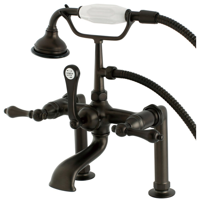 Kingston Brass Aqua Eden AE103T5 Vintage Deck Mount Clawfoot Tub Faucet in Oil Rubbed Bronze-Tub Faucets-Free Shipping-Directsinks.