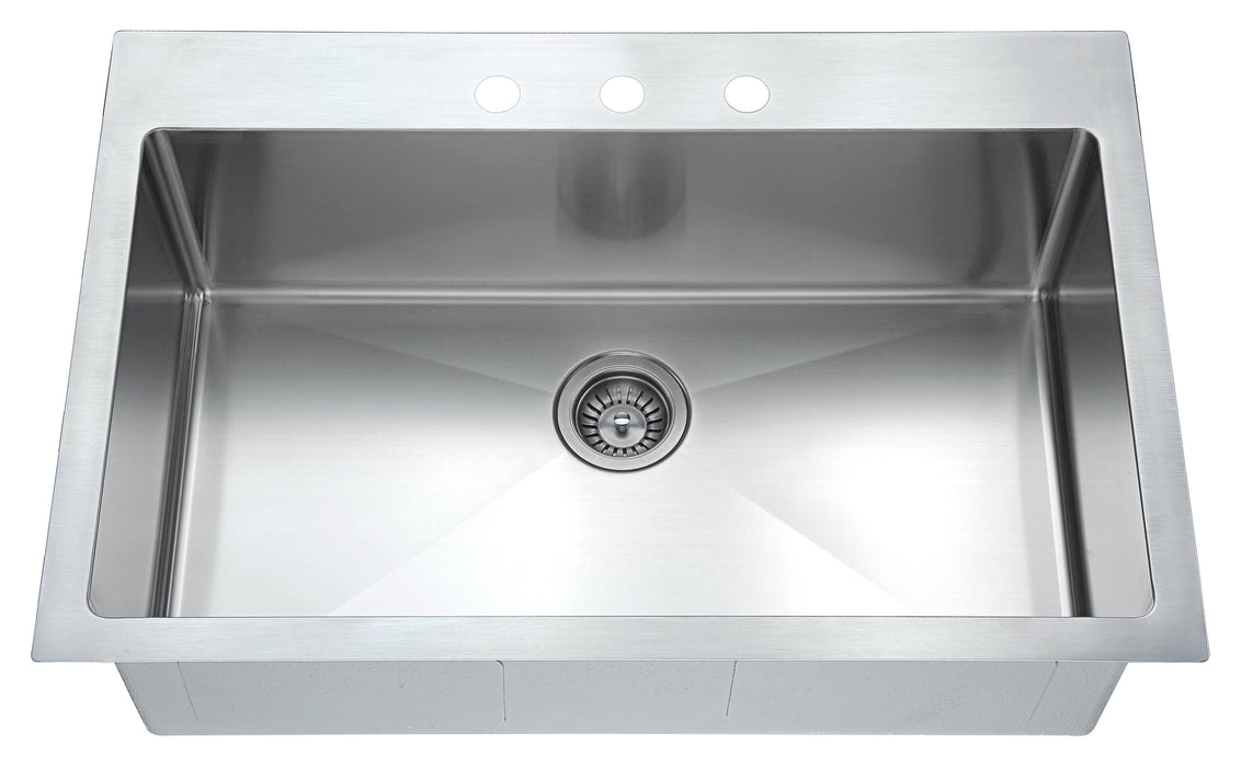 Dawn Top Mount Single Bowl Sink with Three Pre-cut Faucet Holes-Kitchen Sinks Fast Shipping at DirectSinks.