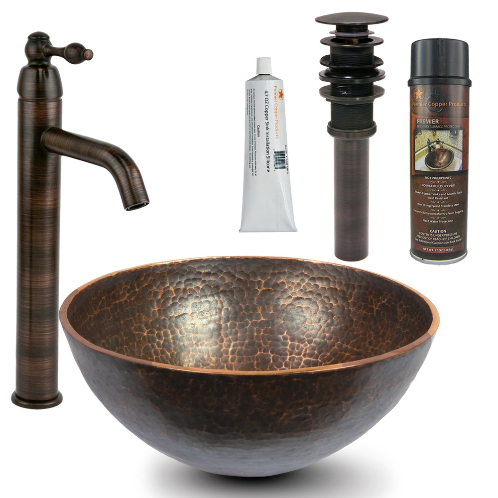 Premier Copper Products - BSP1_PV13RDB Vessel Sink, Faucet and Accessories Package-DirectSinks