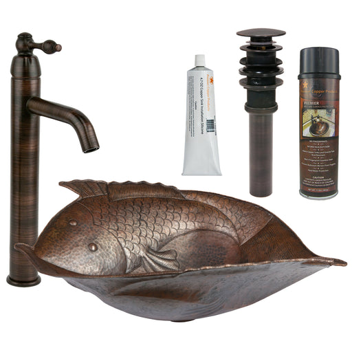 Premier Copper Products - BSP1_PV2FHDB Vessel Sink, Faucet and Accessories Package-DirectSinks