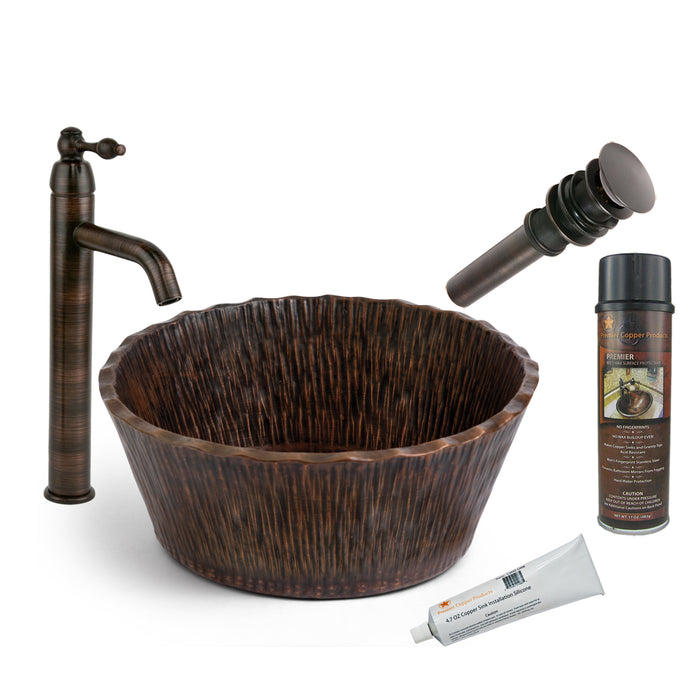 Premier Copper Products - BSP1_PVRTRDB Vessel Sink, Faucet and Accessories Package-DirectSinks