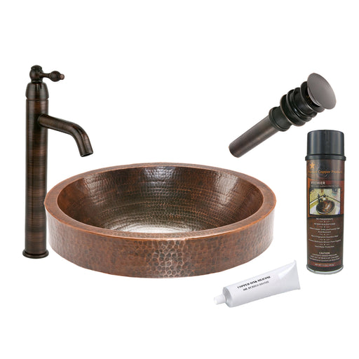 Premier Copper Products - BSP1_VO18SKDB Vessel Sink, Faucet and Accessories Package-DirectSinks