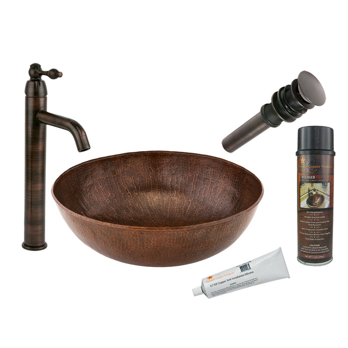 Premier Copper Products - BSP1_VR17SKDB Vessel Sink, Faucet and Accessories Package-DirectSinks