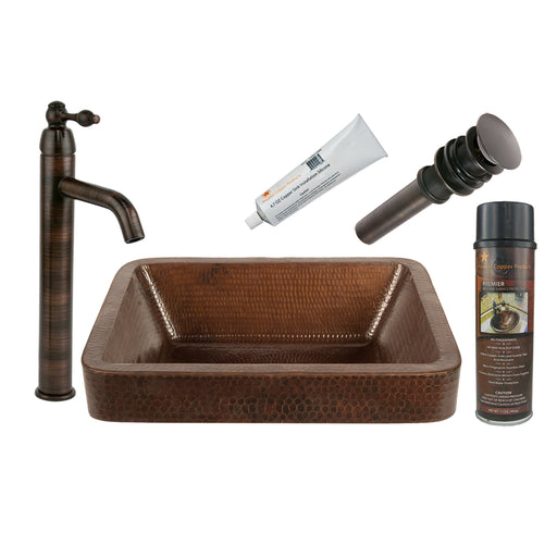 Premier Copper Products - BSP1_VREC17SKDB Vessel Sink, Faucet and Accessories Package-DirectSinks