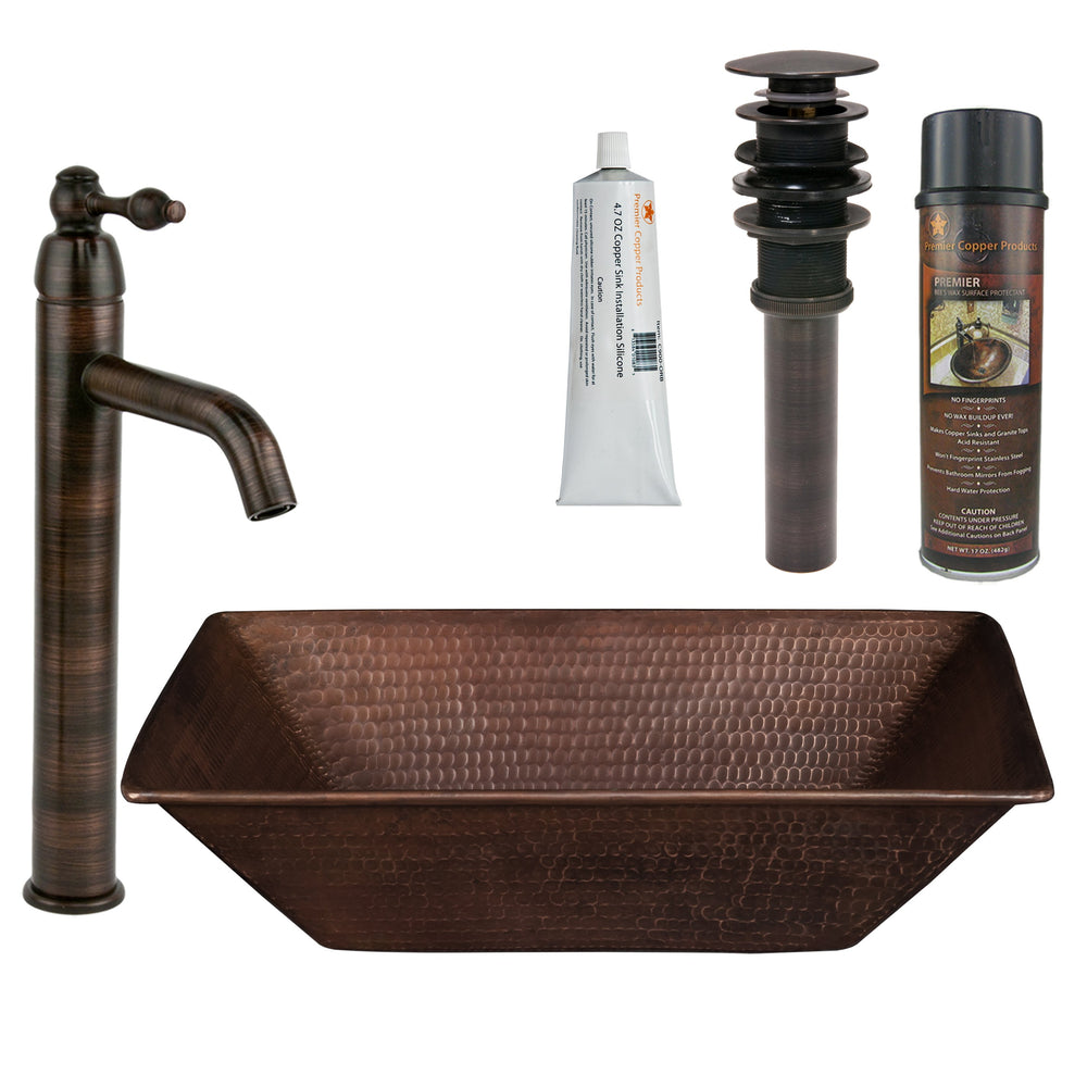 Premier Copper Products - BSP1_VREC17WDB Vessel Sink, Faucet and Accessories Package-DirectSinks