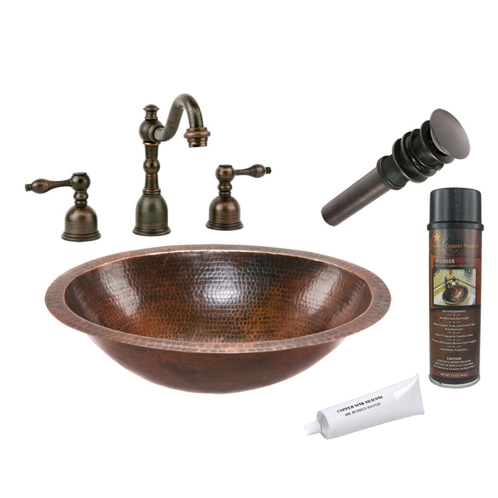 Premier Copper Products - BSP2_LO19FDB Bathroom Sink, Faucet and Accessories Package-DirectSinks
