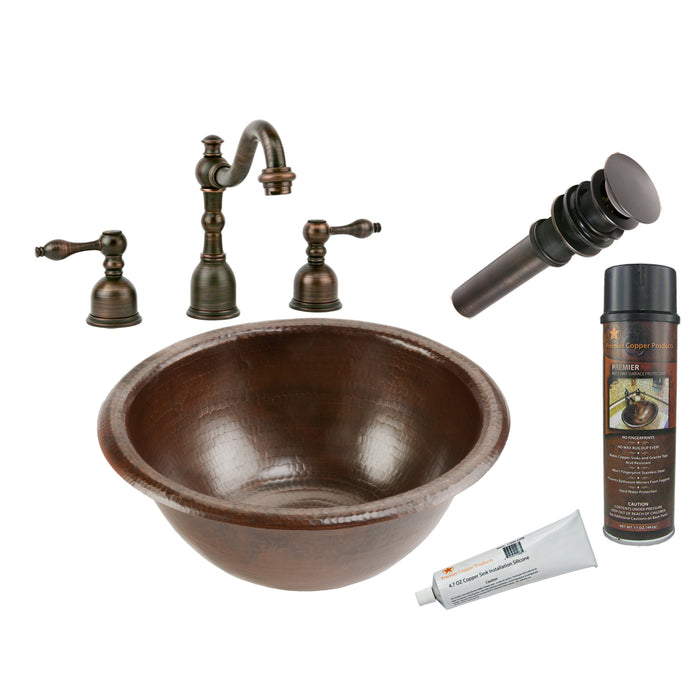 Premier Copper Products - BSP2_LR14RDB Bathroom Sink, Faucet and Accessories Package-DirectSinks