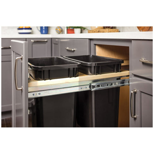 "Hardware Resources Top Mount Soft-close Double 35qt Trash Can Unit - for 15"" Opening-DirectSinks"