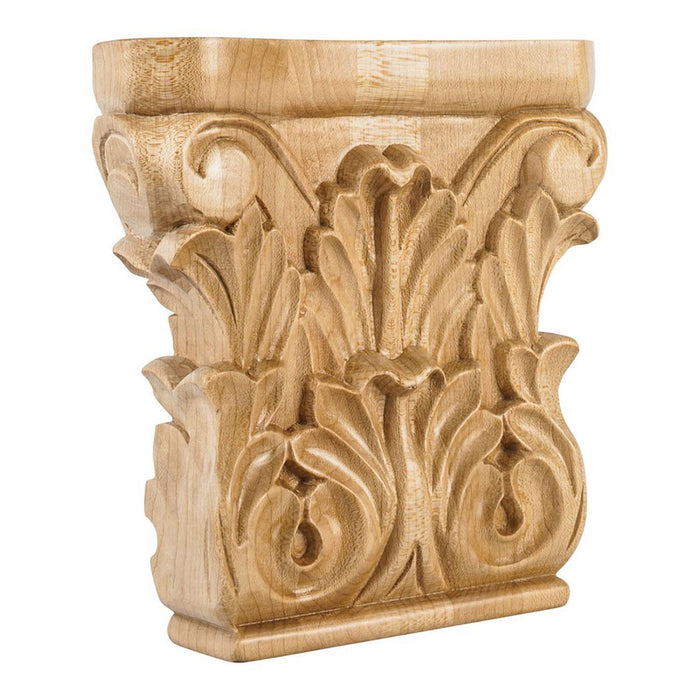 "Hardware Resources 6"" x 6"" x 1-1/2"" Rubberwood Acanthus Traditional Capital-DirectSinks"