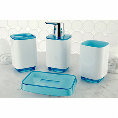 Kingston Brass Krystal Bathware CBAK5202WB Cayman 4-Piece Bath Accessory Set in White with Blue-Bathroom Accessories-Free Shipping-Directsinks.