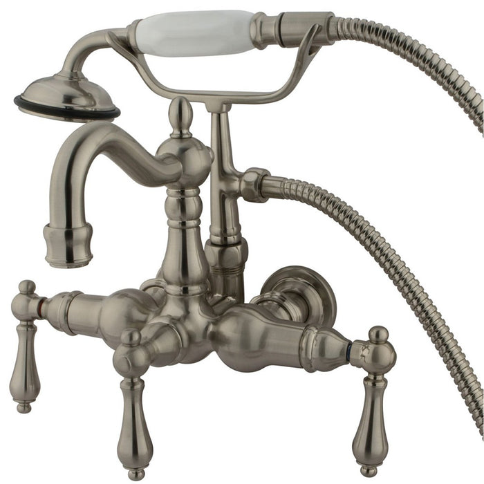 "Kingston Brass Vintage 3-3/8"" Wall Mount Clawfoot Tub Filler with Hand Shower-Tub Faucets-Free Shipping-Directsinks."