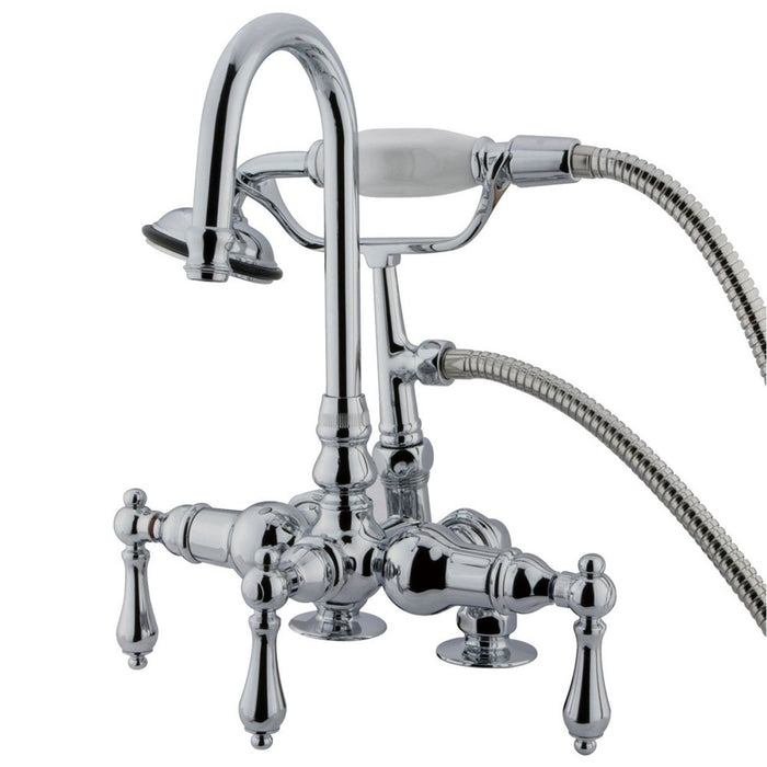 "Kingston Brass Vintage 3-3/8"" Clawfoot Deck Mount Tub Filler with Hand Shower-Tub Faucets-Free Shipping-Directsinks."