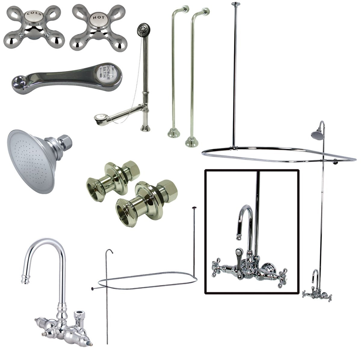 Kingston Brass Vintage Wall Mount High Rise Clawfoot Tub and Shower Package with Porcelain Lever Handles in Polished Chrome-Tub Faucets-Free Shipping-Directsinks.