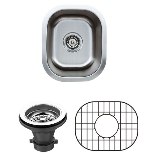 Wells Sinkware 15-Inch 18-Gauge Undermount Single Bowl Stainless Steel Bar Sink with Grid Rack and Strainer-Bar & Prep Sinks Fast Shipping at Directsinks.