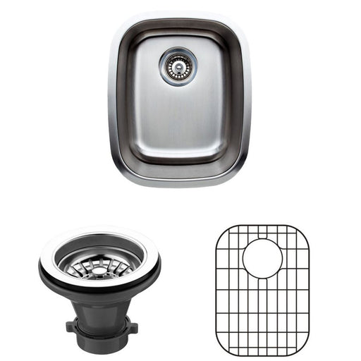 Wells Sinkware 15-Inch 18-Gauge Single Bowl Undermount Stainless Steel Bar Sink with Grid Rack and Strainer-Bar & Prep Sinks Fast Shipping at Directsinks.