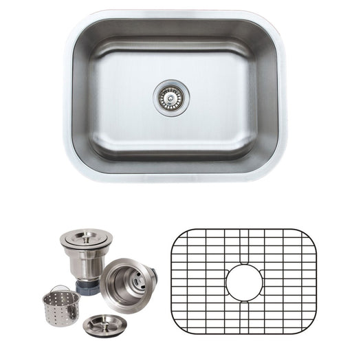 Wells Sinkware 23-Inch 18-Gauge Undermount Single Bowl Stainless Steel Kitchen Sink with Grid Rack and Basket Strainer-Kitchen Sinks Fast Shipping at Directsinks.