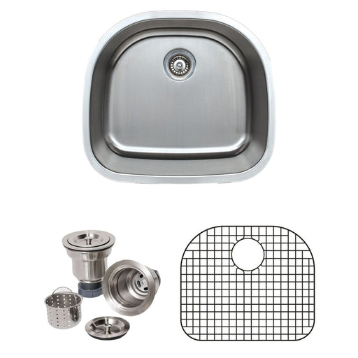 Wells Sinkware 24-Inch 16-Gauge Undermount D-shaped Single Bowl Stainless Steel Kitchen Sink with Grid Rack and Basket Strainer-Kitchen Sinks Fast Shipping at Directsinks.