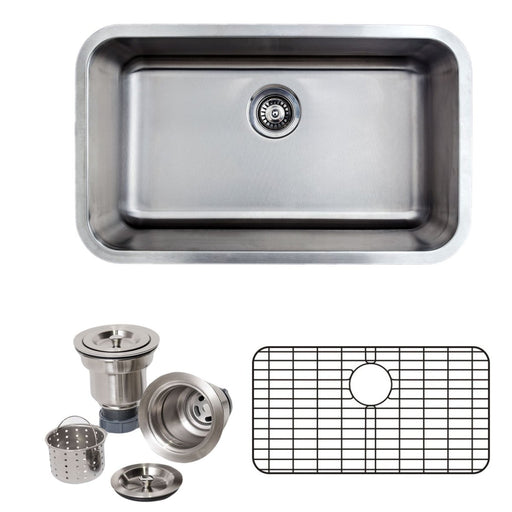 Wells Sinkware 30-Inch 16-Gauge Undermount Single Bowl Stainless Steel Kitchen Sink with Grid Rack and Basket Strainer-Kitchen Sinks Fast Shipping at Directsinks.