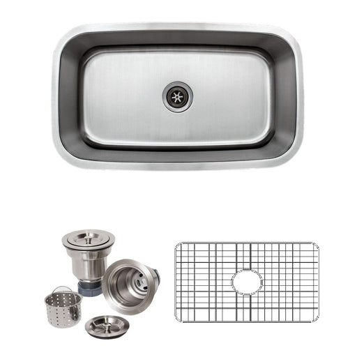 Wells Sinkware 32-Inch 16-Gauge Undermount Single Bowl Stainless Steel Kitchen Sink with Grid Rack and Basket Strainer-Kitchen Sinks Fast Shipping at Directsinks.