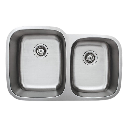 Wells Sinkware 32-Inch 18-Gauge Undermount Double Bowl Stainless Steel Kitchen Sink-Kitchen Sinks Fast Shipping at Directsinks.