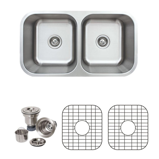 Wells Sinkware 33-Inch 16-Gauge Undermount 50/50 Double Bowl Stainless Steel Kitchen Sink with Grid Rack and Basket Strainer-Kitchen Sinks Fast Shipping at Directsinks.