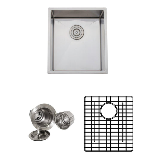 Wells Sinkware Handcrafted 17-Inch 16-Gauge Undermount Stainless Steel Bar Sink with Grid Rack and Basket Strainer-Bar & Prep Sinks Fast Shipping at Directsinks.