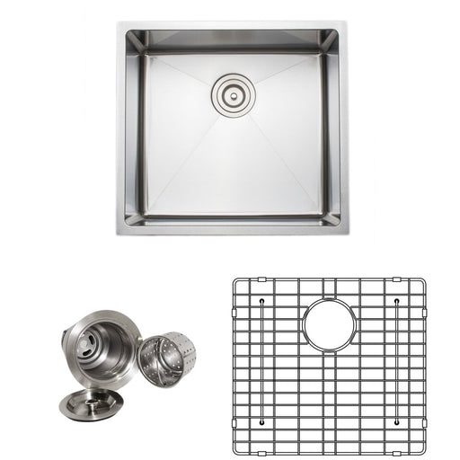Wells Sinkware Handcrafted 21-Inch 16-Gauge Undermount Single Bowl Stainless Steel Kitchen Sink with Grid Rack and Basket Strainer-Kitchen Sinks Fast Shipping at Directsinks.