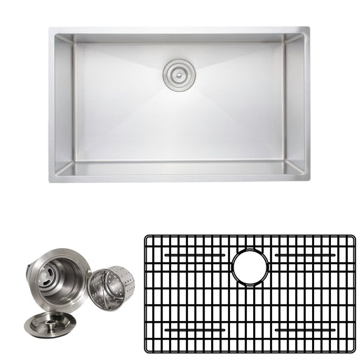 Wells Sinkware Handcrafted 32-Inch 16-Gauge Undermount Single Bowl Stainless Steel Kitchen Sink with Grid Rack and Basket Strainer-Kitchen Sinks Fast Shipping at Directsinks.