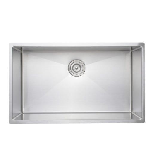 Wells Sinkware Handcrafted 32-Inch 16-Gauge Undermount Single Bowl Stainless Steel Kitchen Sink-Kitchen Sinks Fast Shipping at Directsinks.