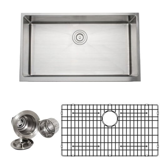 Wells Sinkware Handcrafted 33-Inch 16-Gauge Apron Front Farmhouse Single Bowl Stainless Steel Kitchen Sink with Grid Rack and Basket Strainer-Kitchen Sinks Fast Shipping at Directsinks.