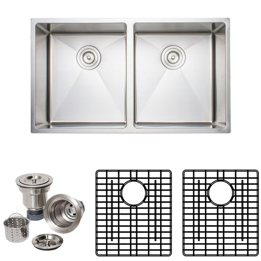 Wells Sinkware Handcrafted 33-Inch 16-Gauge Undermount 50-50 Double Bowl Stainless Steel Kitchen Sink with Grid Rack and Basket Strainer-Kitchen Sinks Fast Shipping at Directsinks.