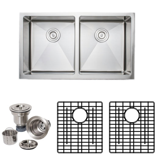 Wells Sinkware Handcrafted 33-Inch 16-Gauge Apron Front Farmhouse 50-50 Double Bowl Stainless Steel Kitchen Sink with Grid Rack and Basket Strainer-Kitchen Sinks Fast Shipping at Directsinks.