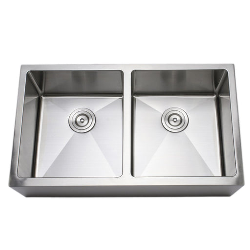 Wells Sinkware Handcrafted 33-Inch 16-Gauge Apron Front Farmhouse 50-50 Double Bowl Stainless Steel Kitchen Sink-Kitchen Sinks Fast Shipping at Directsinks.