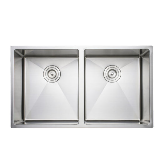 Wells Sinkware Handcrafted 33-Inch 16-Gauge Undermount 50-50 Double Bowl Stainless Steel Kitchen Sink-Kitchen Sinks Fast Shipping at Directsinks.