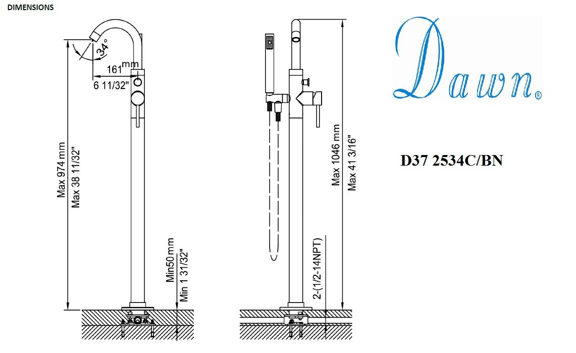 Dawn Floor Mount Freestanding Bathtub Filler Faucet with Hand Held Shower-Tub Faucets Fast Shipping at DirectSinks.