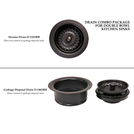 Premier Copper Products Drain Combination Package for Double Bowl Kitchen Sinks - Oil Rubbed Bronze-DirectSinks
