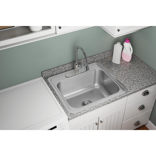 "Elkay 25"" x 22"" x 10-1/4"" Stainless Steel Single Bowl Drop-in Laundry Sink"