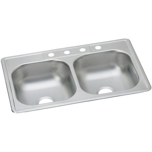 "Elkay 33"" x 22"" x 7-1/16"" Dayton Stainless Steel Equal Double Bowl Drop-in Sink"