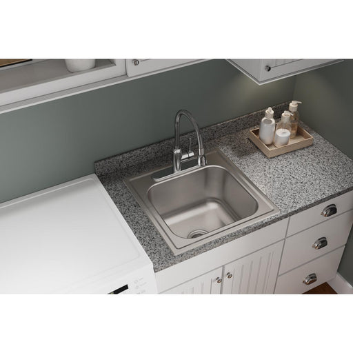 "Elkay Dayton 20"" x 20"" x 10-1/8"" Single Bowl Stainless Steel Drop-in Laundry Sink"