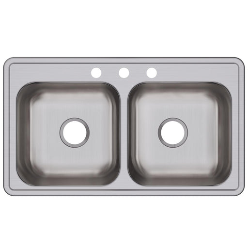 "Elkay 33"" x 19"" x 8"" Dayton Stainless Steel Equal Double Bowl Drop-in Sink"