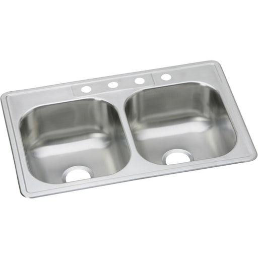"Elkay 33"" x 21-1/4"" x 8-1/16"" Dayton Stainless Steel Equal Double Bowl Drop-in Sink"