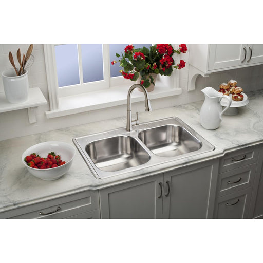 "Elkay 33"" x 22"" x 8-1/16"" Dayton Equal Double Bowl Stainless Steel Drop-in Sink"
