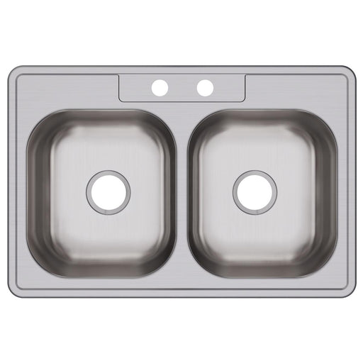 "Elkay 33"" x 22"" x 8-1/16"" Dayton Stainless Steel Equal Double Bowl Drop-in Sink"