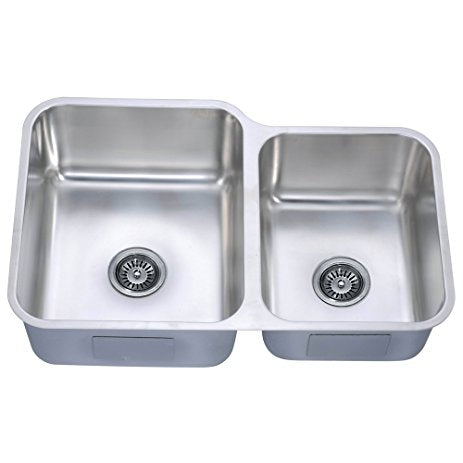 "32"" Undermount Double Bowl 60/40 16 Gauge Stainless Steel Kitchen Sink-Kitchen Sinks Fast Shipping at DirectSinks."