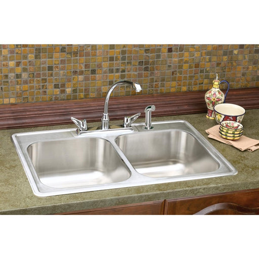 "Elkay 33"" x 22"" x 8-3/16"" Dayton Stainless Steel Equal Double Bowl Drop-in Sink"
