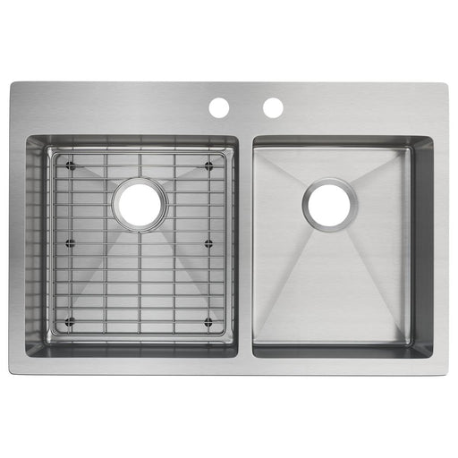 "Elkay 33"" x 22"" x 9"" Crosstown 60/40 Double Bowl Dual Mount Stainless Steel Sink Kit"